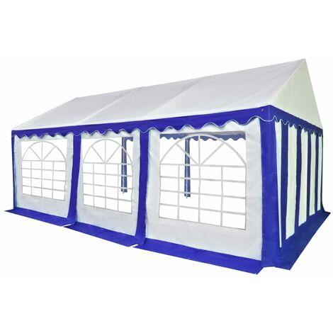 Chapiteau de jardin PVC 4 x 6 m Bleu et blanc