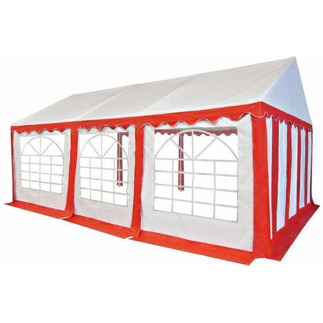 Chapiteau de jardin PVC 4 x 6 m Rouge et blanc