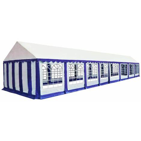 Chapiteau de jardin PVC 6 x 16 m Bleu et blanc
