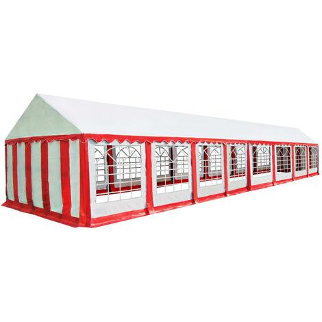 Chapiteau de jardin PVC 6 x 16 m Rouge et blanc