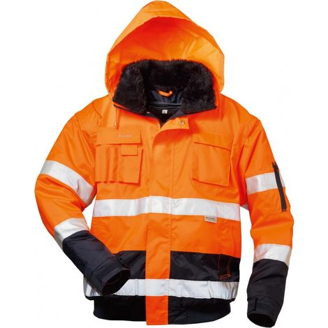 Chaqueta softshell de alta visibilidad VOLKER Talla L, naranja/azul marino