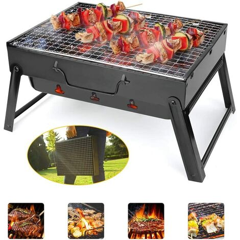 Charcoal BBQ, Portable BBQ Grill Stainless Steel Foldable Barbecue Smoker Grill BBQ Desk Perfect for Camping Picnic Outdoor Garden Party