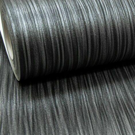 Charcoal Black Dark Grey Mix Plain Thick Textured Wallpaper