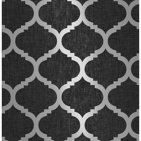 Charcoal Black Trellis Geometric Metallic Silver Grey Wallpaper Linen Effect