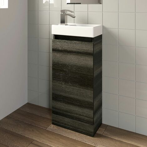 Charcoal Floor Standing 400mm Slim Vanity Unit Basin Sink Cloakroom Bathroom