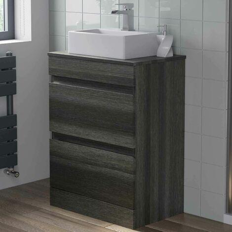 Charcoal Grey 600mm Bathroom Vanity Unit Countertop Rectangular Basin