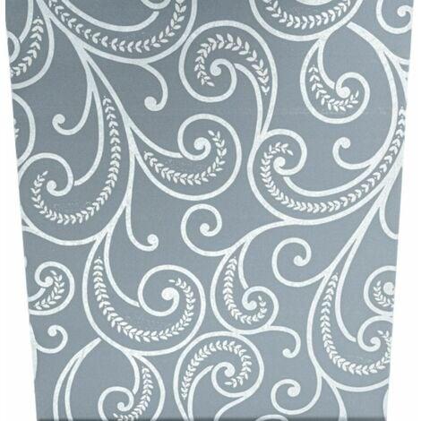Charcoal Grey Silver Textured Metallic Swirl Paisley Shimmer Metallic Wallpaper