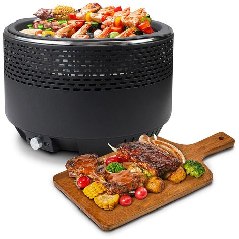 Charcoal Gril, Portable BBQ Grill, Negro, with Cast iron grill plate and Carry bag, Tamaño: 34 x 34 x 22 cm