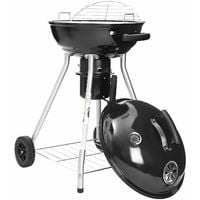 Charcoal Grill with Lid Thermometer and Heat-Resistant Handle, Kettle Grill, Rolling BBQ Grill with 4 Legs (2 Wheels), Foldable Grid and Bottom Shelf - for Backyard Parties and Camping - GBQ18BK