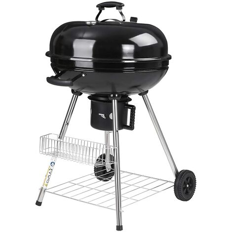 Charcoal Grill with Lid Thermometer and Heat-Resistant Handle, Kettle Grill, Rolling BBQ Grill with 4 Legs, Foldable Grid and Bottom Shelf - for Backyard Parties and Camping - GBQ22BKV1