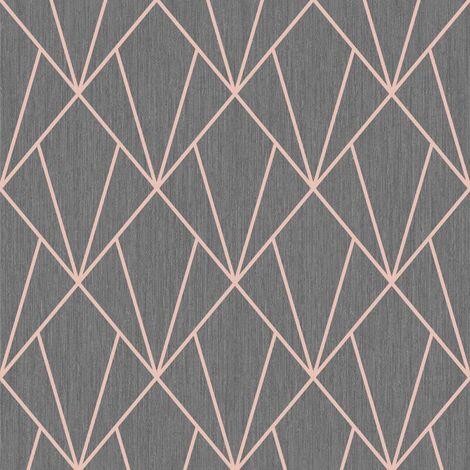 Charcoal Rose Gold Geometric Diamonds Wallpaper Metallic Glitter Muriva Indra