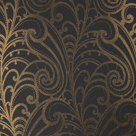 Chareau Scroll Wallpaper Leaf Botanical Victorian Vintage Black Gold Glitter