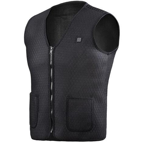 Charge gilet chauffant intelligent, v¨ºtements chauffants, temp¨¦rature constante et gilet taille chaude sans batterie, sans prise, noir