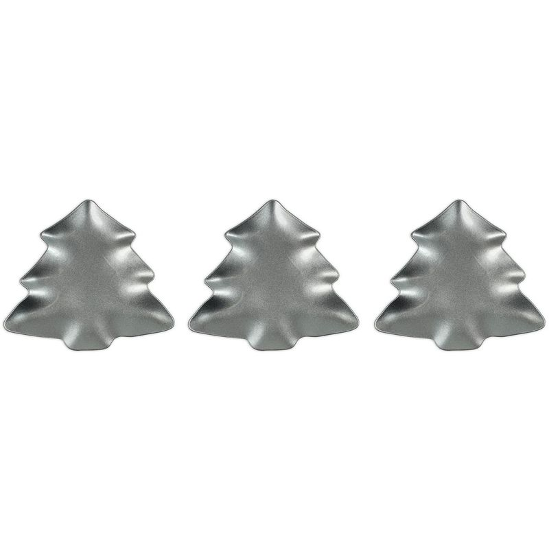 Image of Charger Plate Set of 3 Silver Charger Plates Christmas Tableware Xmas Decoration