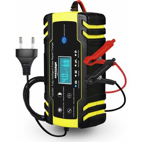 Chargeur de batterie de voiture, 12V 8A, 24V 4A Chargeur de batterie de voiture, chargeur d'entretien intelligent entièrement automatique avec écran tactile LCD pour voitures, motos, tondeuses à gazon ou bateaux (batteries de 6Ah à 150Ah)