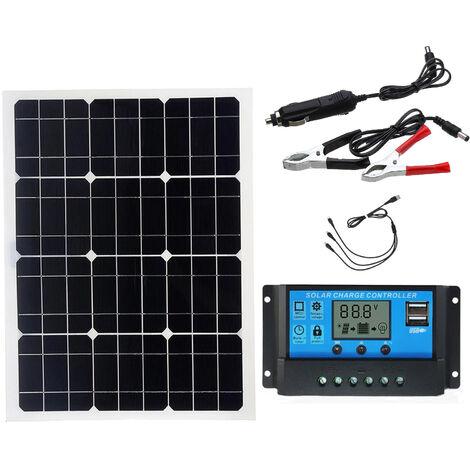 Chargeur De Batterie Solaire Double Usb, Panneau Solaire 40W + Controleur 10A