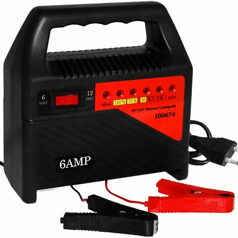Chargeur de batteries 6 Ampères avec affichage LED de 6 à 12 Volts