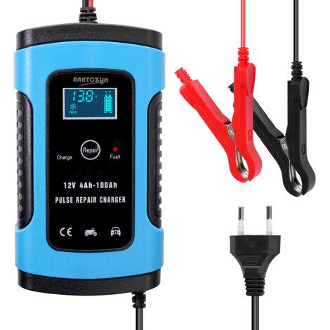 Chargeur de chargeur de batterie de voiture de moto 12V6A chargeur de stockage au plomb-acide de type de reparation universel intelligent complet bleu EU