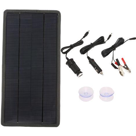Chargeur de panneau solaire 12W 18V / 12V pour charger la batterie de voiture 12V au chargeur de telephone portable 5V silicium monocristallin