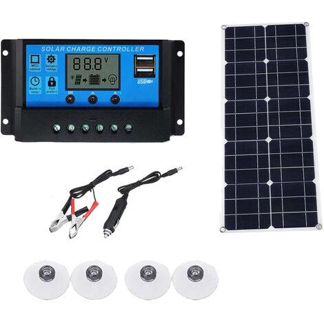 Chargeur De Panneau Solaire 40W Avec Controleur, Chargeur De Batterie Solaire Etanche A Double Port Usb
