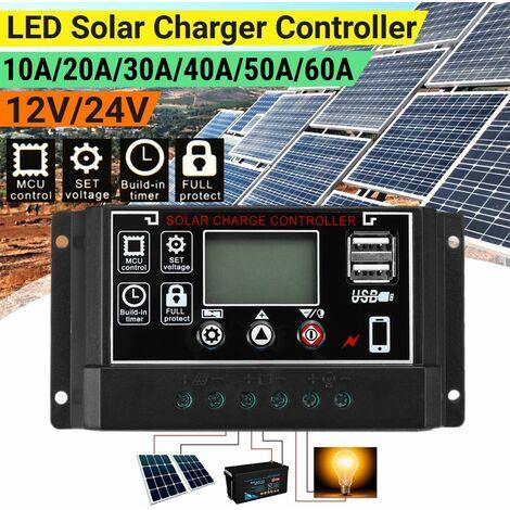 Chargeur de panneau solaire LCD Controller Battery Dual USB (60A)