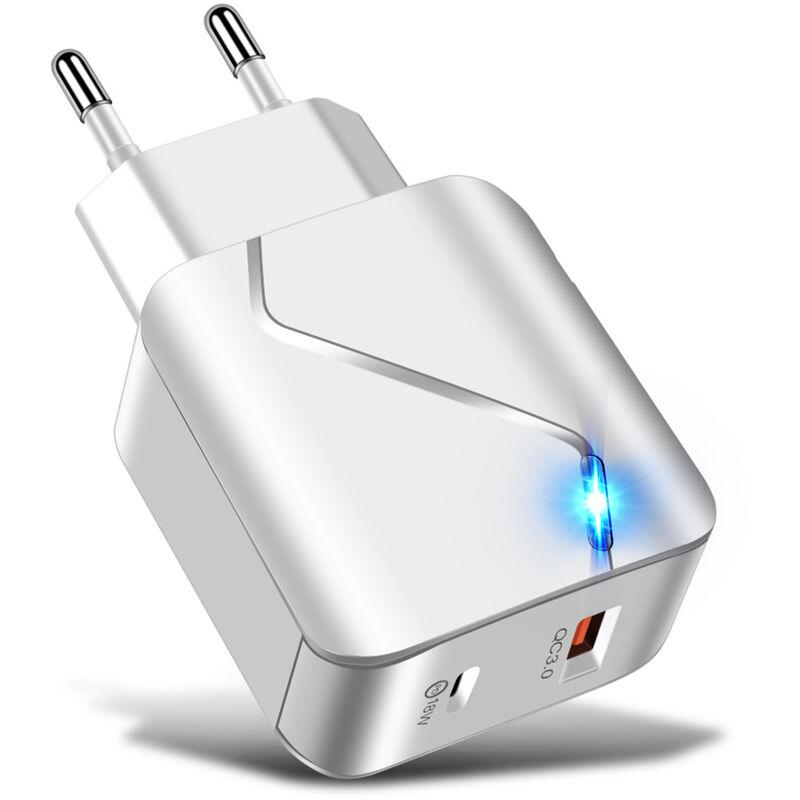 Happyshopping - Chargeur de telephone portable PD 18W + USB charge rapide Chargeur de voyage PD18W + QC3.0 3AL illumine pour i-Phone/Huawei, norme