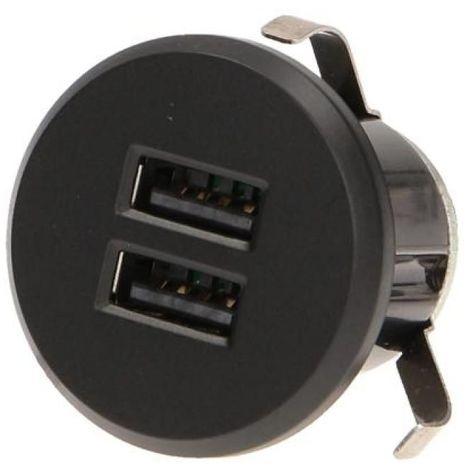 Chargeur double USB encastrable avec alimentation noir