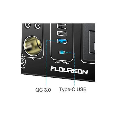 Chargeur portable Li sur chargeur de générateur Floureon 500Wh avec entrée CA, entrée USB, PD, charge rapide