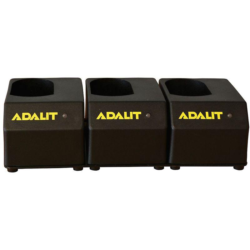 Chargeur pour lampes-torches ADALIT® - pour accumulateur au lithium-ions - pour lampes de sécurité à 3 diodes - Coloris: noir