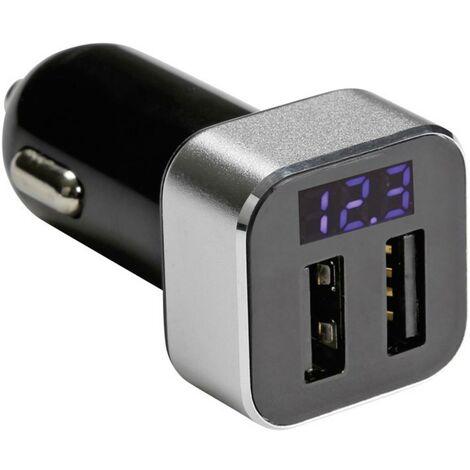 Chargeur prise allume-cigare double connexion USB et afficheur Velleman CARSUSB20 Charge de courant max=2.1 A