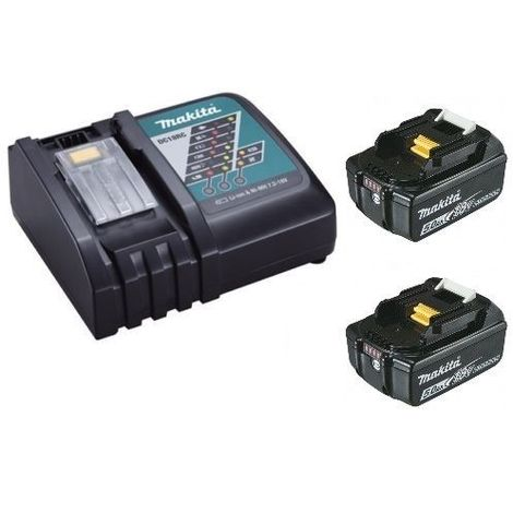 Chargeur rapide Makita DC18RC + 2 batteries 18v BL1850B 5Ah Li-ion LXT