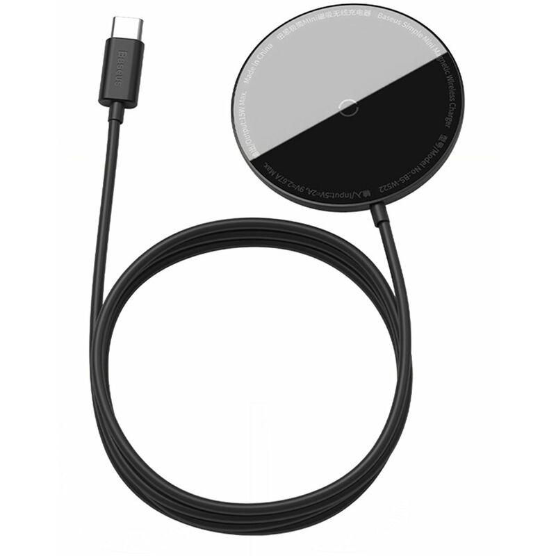 Chargeur sans fil magnetique Baseus 15W Max Pad de charge rapide sans fil compatible avec iPhone 12/12 Mini/12 Pro Max BS-W522, modele : Noir 60