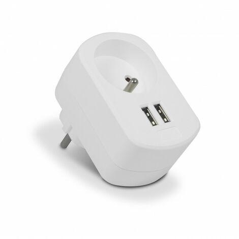 """main image of """"Chargeur secteur 2 USB 3,4 A + prise de courant 16 A - blanc"""""""