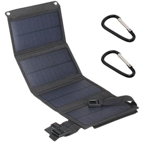 Chargeur Solaire Usb 5V 10W Avec 4 Panneaux Solaires, Noir