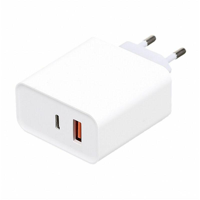 Ac-déco - Adaptateur secteur - USB + TYPE C - L 4,5 cm x l 2,7 cm x H 9,7 cm - Livraison gratuite