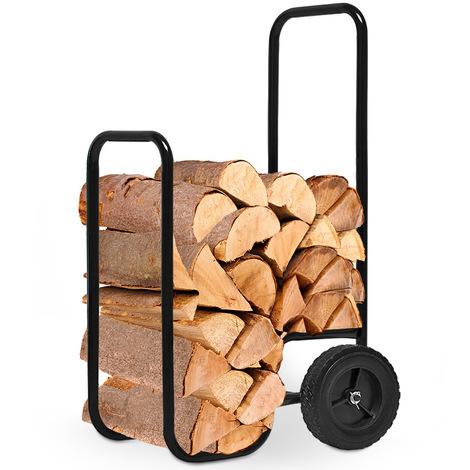 Chariot à bois - Charge maximale 80kg - Pneus en caoutchouc