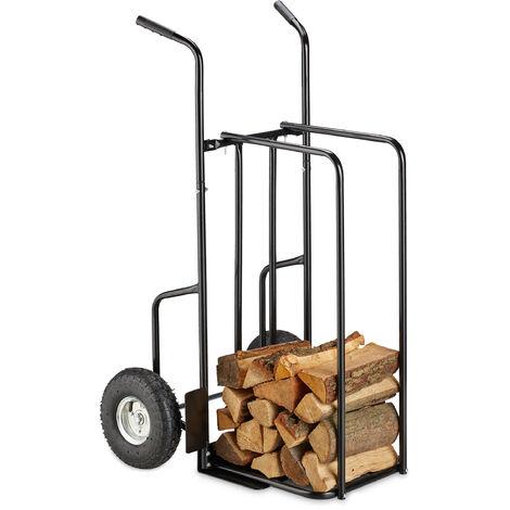 Chariot à bois de cheminée XL en métal, avec 2 grosses roues, jusqu'à 200kg, transport de bois, noir