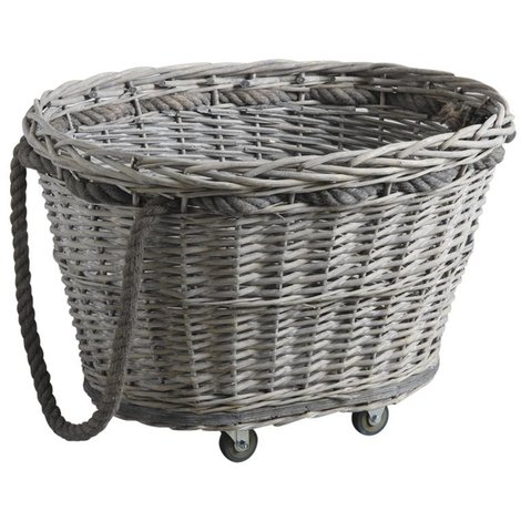 Chariot à bûches en éclisse grise et corde - Dim : 63 x 50 x 42 cm