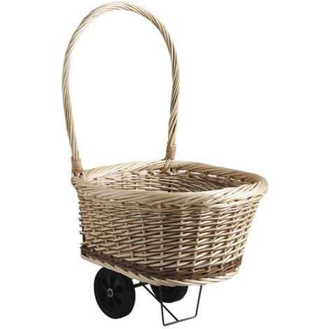Chariot à bûches en osier brut et blanc - Dim : 52 x 50 x 84 cm