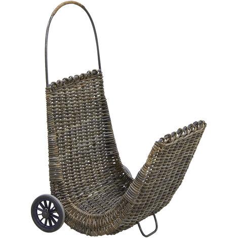 Chariot à bûches en poelet croco sur roulettes - Marron