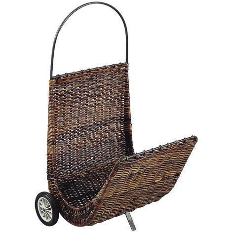 Chariot à bûches en poelet et métal dim 48 x 56 x 57