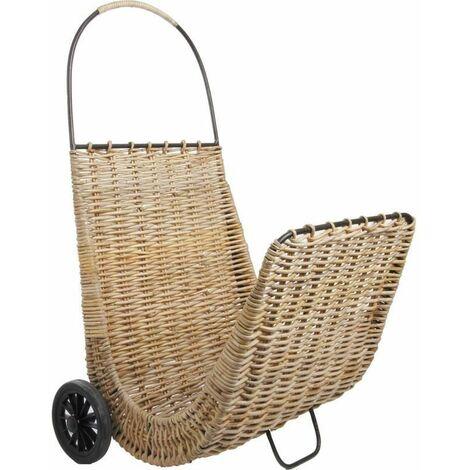 Chariot à bûches sur roulettes en poelet Naturel - Naturel