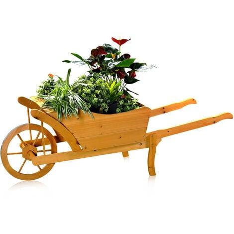 chariot à fleurs brouette de jardin brouette de bois au moyen d'un pot de fleurs bac à fleurs chariot