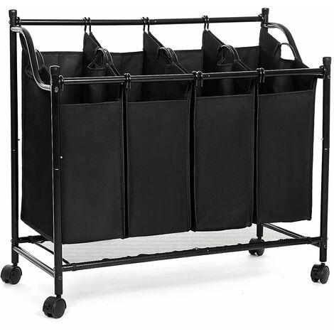 Chariot à linge en cadre métal avec 4 sacs et 4 roulettes, porte vêtement pour hôtel, laverie LSF005