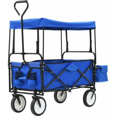 Chariot à main pliable avec toit Acier Bleu