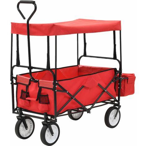 Chariot à main pliable avec toit Acier Rouge