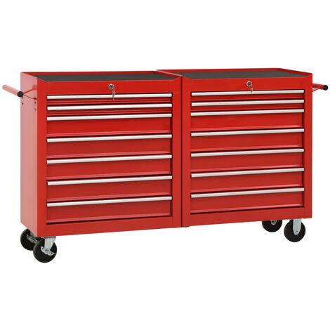 Chariot à outils avec 14 tiroirs Acier Rouge