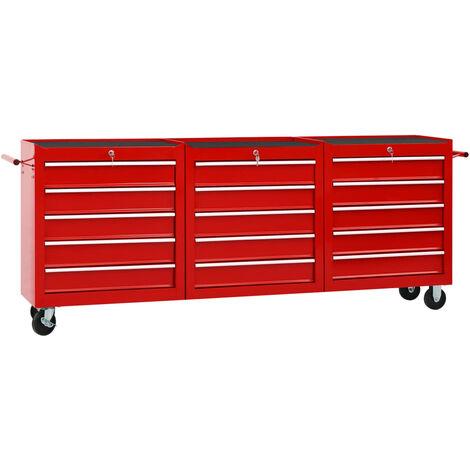 Chariot à outils avec 15 tiroirs Acier Rouge