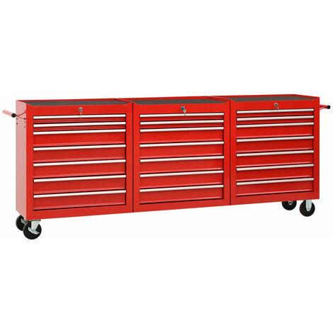 Chariot à outils avec 21 tiroirs Acier Rouge