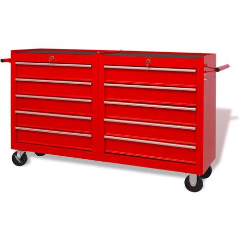 Chariot à outils pour atelier 10 tiroirs Taille XXL Acier Rouge